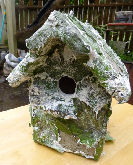 concrete printed leaves on Birdhouse